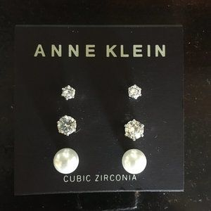 """Anne Klein Earring Set - """"pearl"""" and CZ (E14)"""